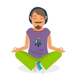 Funky hippie man yoga meditation vector image vector image