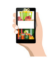 gift boxes on mobile phone screen vector image vector image