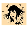 Girl with butterflies around are waving hands vector image vector image