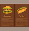 hamburger and hot dog set vector image vector image
