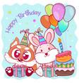 happy birthday card with cute fox vector image