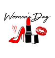 happy women s day design with red kiss lips red vector image