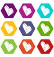 heart clothes button icons set 9 vector image vector image