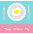 Heart-shaped fried egg Happy Valentines Day vector image