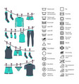 icons set washing clothes vector image