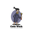 logo cute witch mascot cartoon style vector image