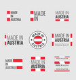 made in austria labels set republic austria vector image vector image