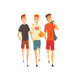male friends spending time together men play vector image vector image