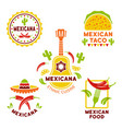 mexican food colored logos templates vector image