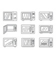 modern microwave icon set outline style vector image