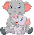 mom and baby elephant sitting on white background vector image vector image