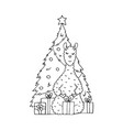 monochrome hand-drawn lama with gifts vector image vector image