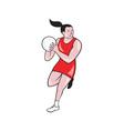 Netball Player Catching Ball Isolated Cartoon