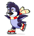 penguin on skates vector image