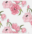 peony flowers botanical pattern vintage nature vector image