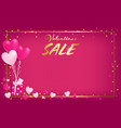 pink board with gold border and valentines day vector image vector image