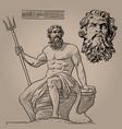 poseidon god of the sea earthquakes soil vector image