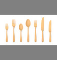realistic wooden cutlery biodegradable bamboo vector image vector image