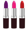 Red purple and pink lipstick vector image vector image
