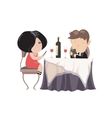 Romantic couple dinner looking at their smart vector image