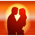 Sea sunset with silhouette couple vector image vector image