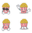 set of popcorn character with cool waving afraid vector image vector image