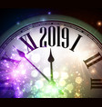 shiny 2019 new year background with clock and vector image vector image