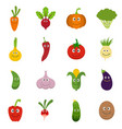 smiling vegetables icons set flat vector image vector image