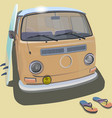 Surfer van beach poster for t-shirt graphics vector image vector image