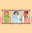 three young children in a row beds vector image