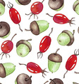 Watercolor Seamless pattern with acorns and vector image vector image