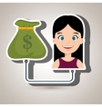 woman and bag money isolated icon design vector image