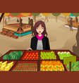 woman shopping at a farmers market vector image vector image