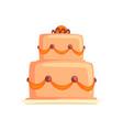 cake for birthday holiday sweet dessert cartoon vector image