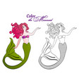 mermaid for coloring page vector image