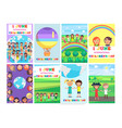 1 june holiday template with colorful posters set vector image vector image