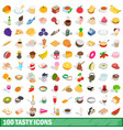 100 tasty icons set isometric 3d style vector image vector image