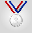3d realistic silver award medal with color vector image