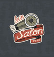 barbershop badge label logo hair dryer for man vector image vector image