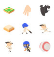 baseball icons set cartoon style vector image