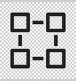 Blockchain technology icon in flat style