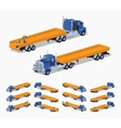 Blue heavy truck and trailer with the yellow open vector image vector image