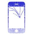 broken smartphone screen textured icon vector image vector image