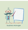 business manager at the poster shows vector image vector image