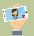 business woman taking selfie photo on smart phone vector image