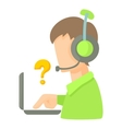 Call center operator with headset and laptop icon vector image vector image