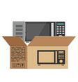 cardboard boxes for moving for kitchen microwave vector image