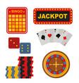casino icons set with roulette gambler joker slot vector image vector image