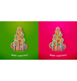 Christmas trees made from curled colorful lines vector image