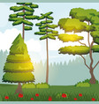 colorful background of sunny landscape of forest vector image vector image